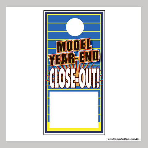 model year-end close-out sale promotional car dealership price hang tag