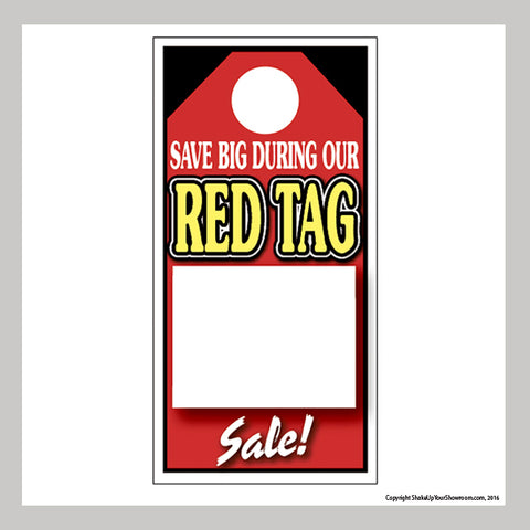 red tag sale promotional car dealership price hang tag