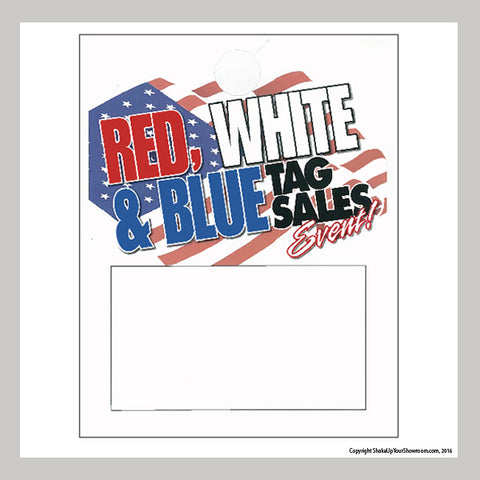 red white and blue tag sales event promotional car dealership price hang tag