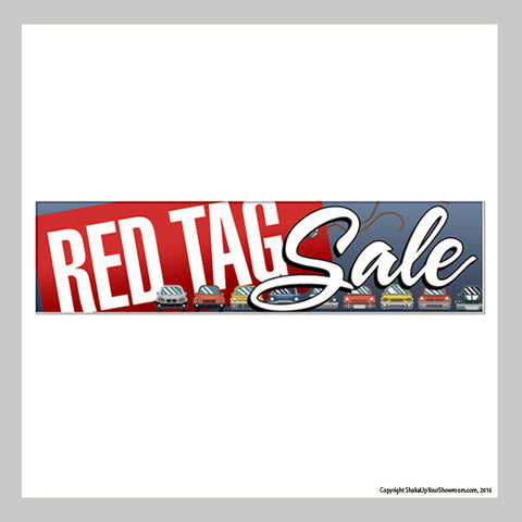 red tag sale promotional car dealership vinyl banner