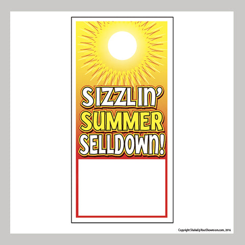 sizzlin' summer selldown promotional car dealership price hang tag