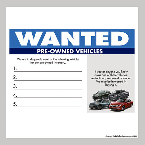 Pre-Owned Vehicles wanted dry erase board for car dealership showroom