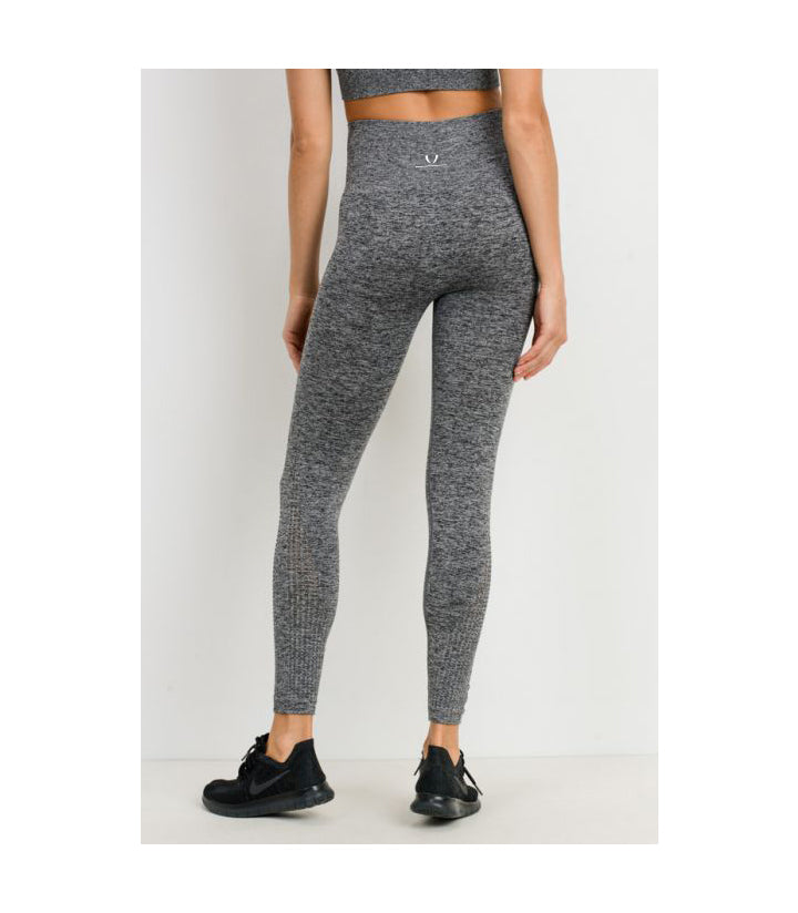 Cascade Wrap Seamless Highwaist Leggings 2 Tone Grey