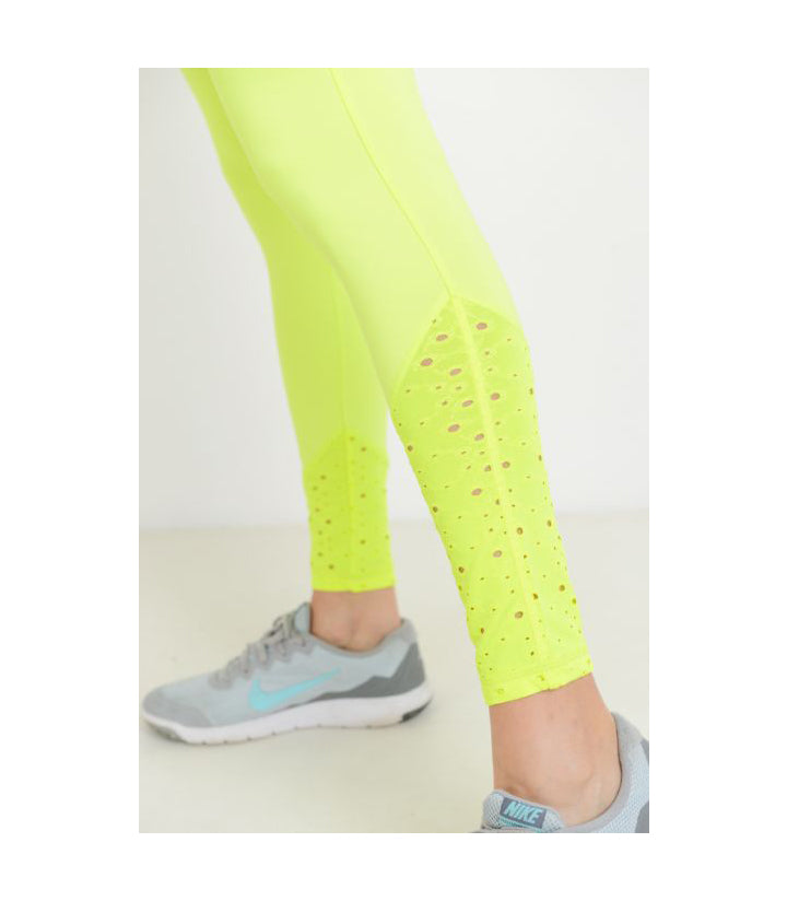 Highwaist Leggings with Slanted Laser-Cut Lace