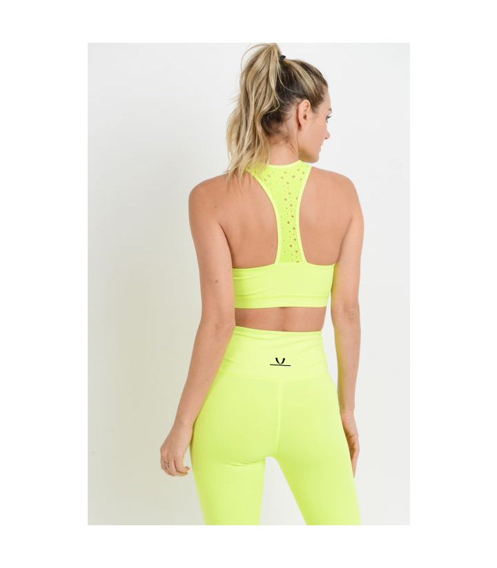 Laser-Cut Lace Racerback Sports Bra