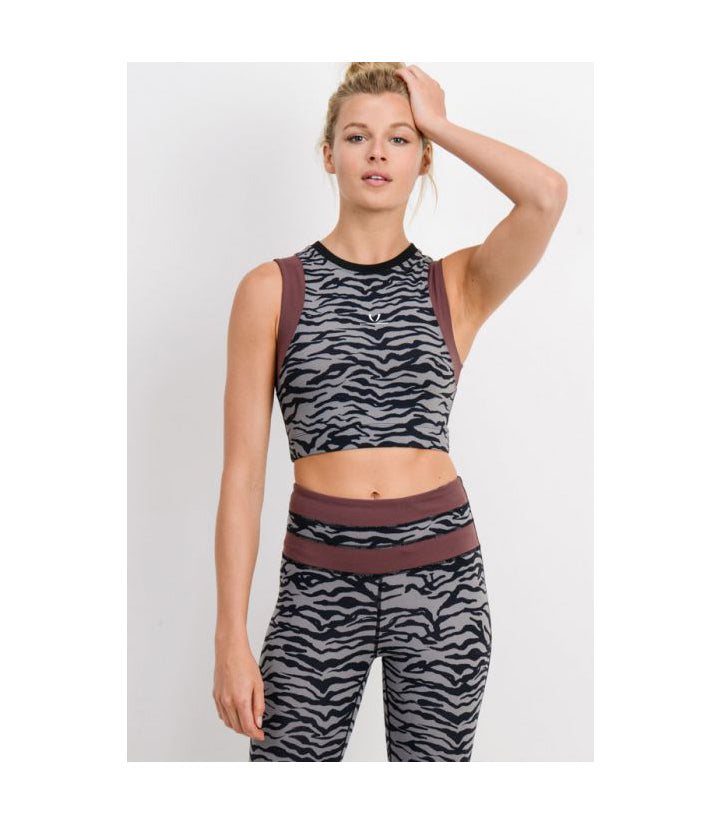 Tiger Print Crop Top with Wraparound Accent