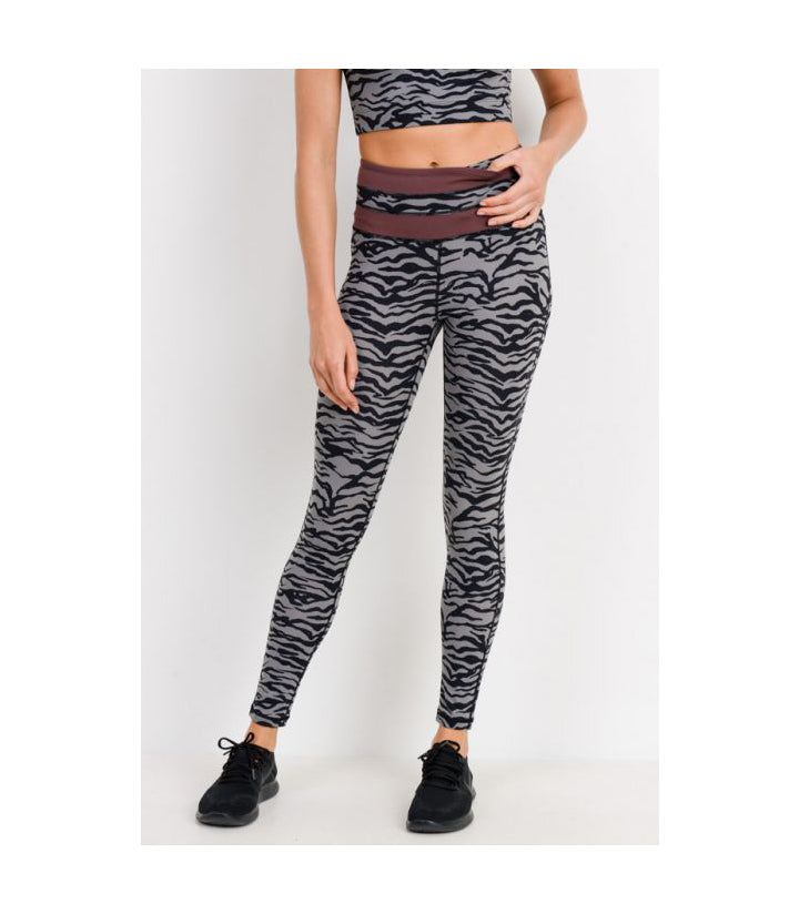 Tiger Print Highwaist Leggings with Striped Band