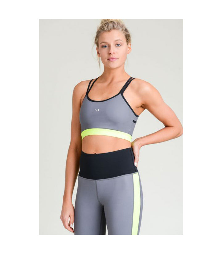 X-Strap Neon Colorblock Sports Bra