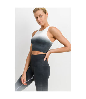 Seamless Racerback Dip-Dye Gradient Ribbed Sports Bra