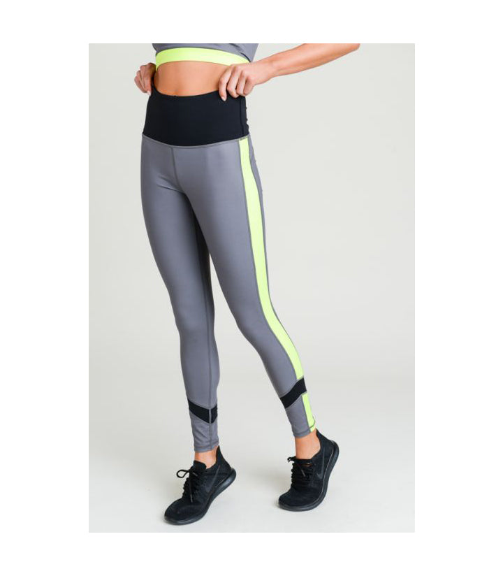 Highwaist Side Neon Colorblock Zippered Leggings