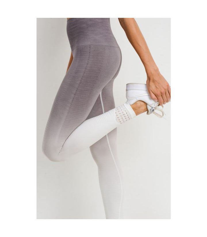 Highwaist Gradient Seamless Ribbed Perforated Leggings Mauve