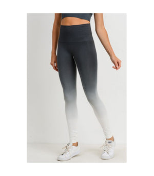 Highwaist Gradient Seamless Ribbed Perforated Leggings Grey