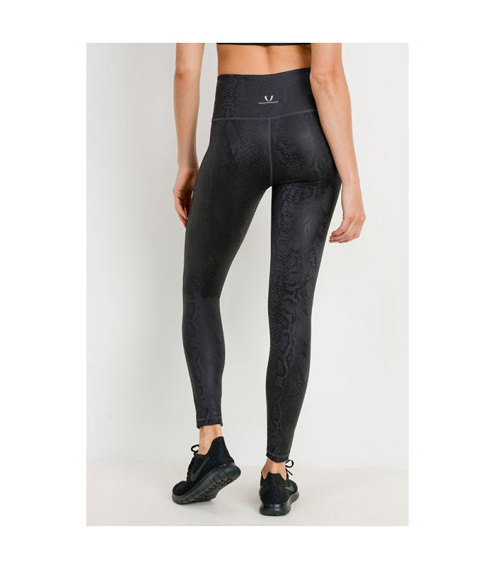 Black Mamba Snake Foil Print Highwaist Leggings (PREORDER)