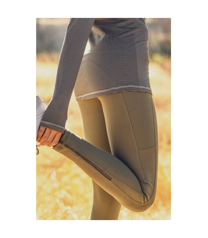 Highwaist Side-Mesh & Slit Full Leggings Grey Daze