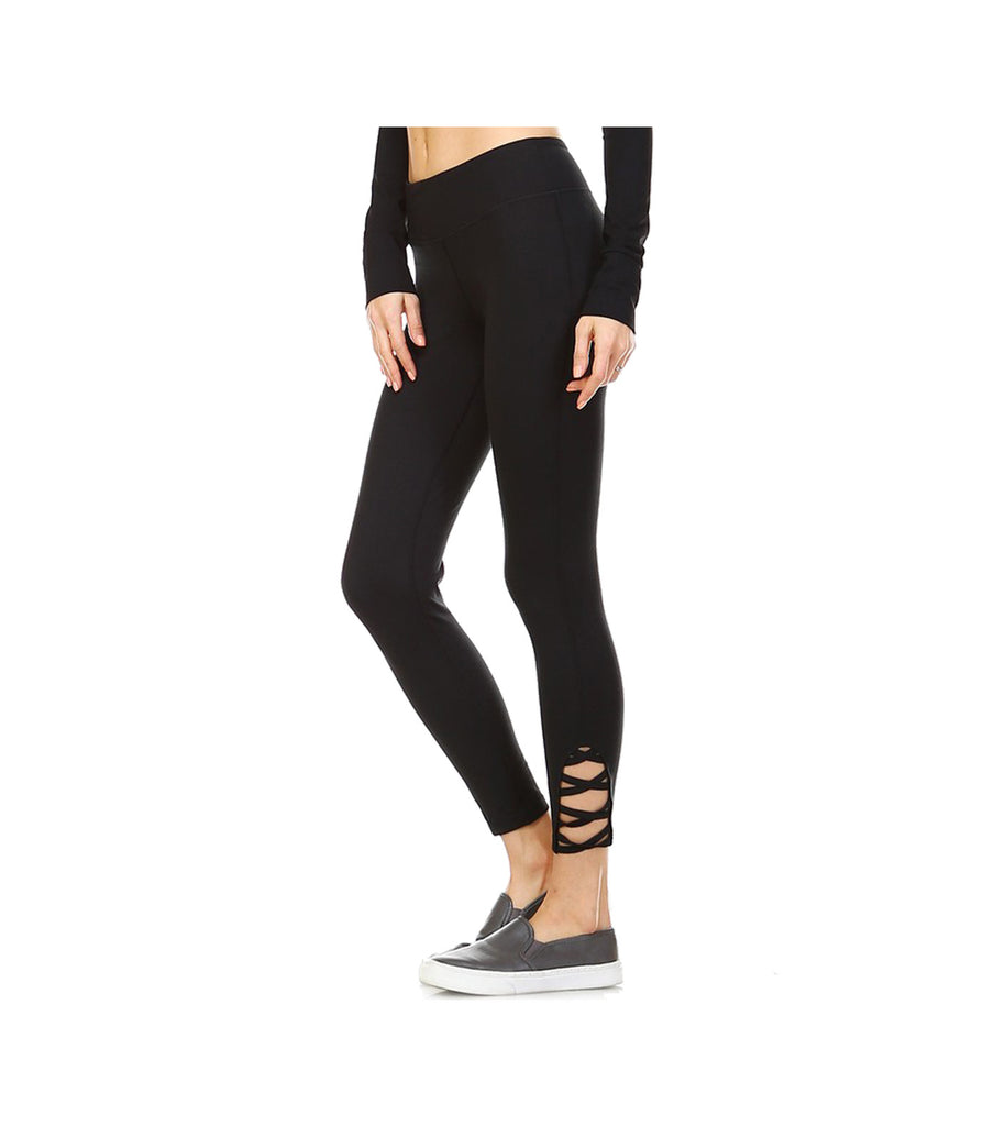 Criss Cross Performance Leggings Black