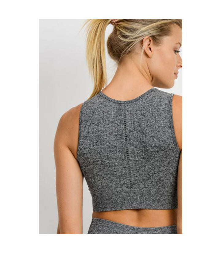 Cascade Seamless Hybrid Sports Bra 2 Tone Grey