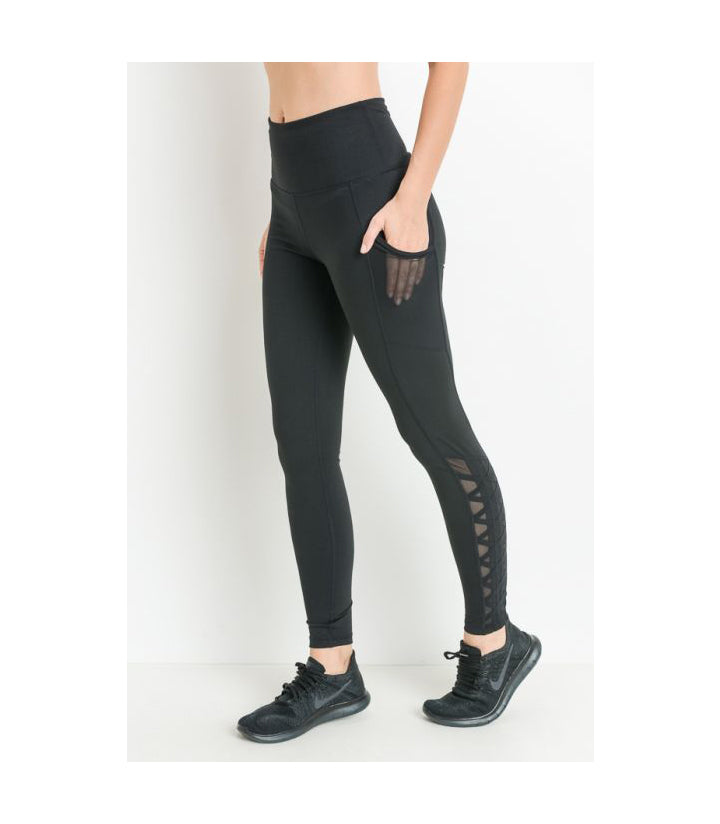 Mesh & Lattice Pocket Leggings Black