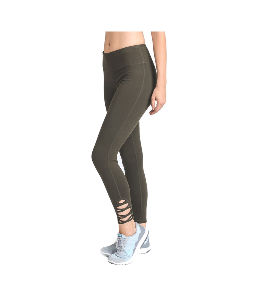 Criss Cross Performance Leggings Olive