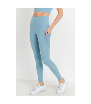 Mesh & Lattice Pocket Leggings Dusty Blue