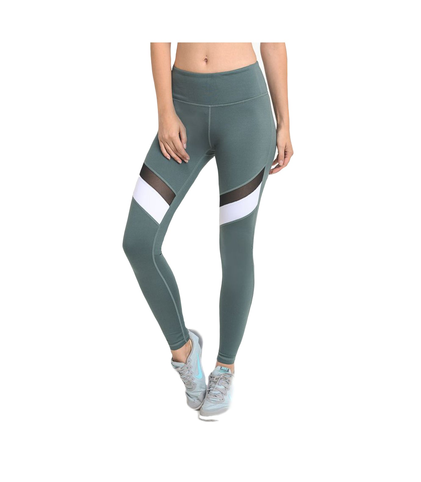 Block Mesh Performance Leggings Teal