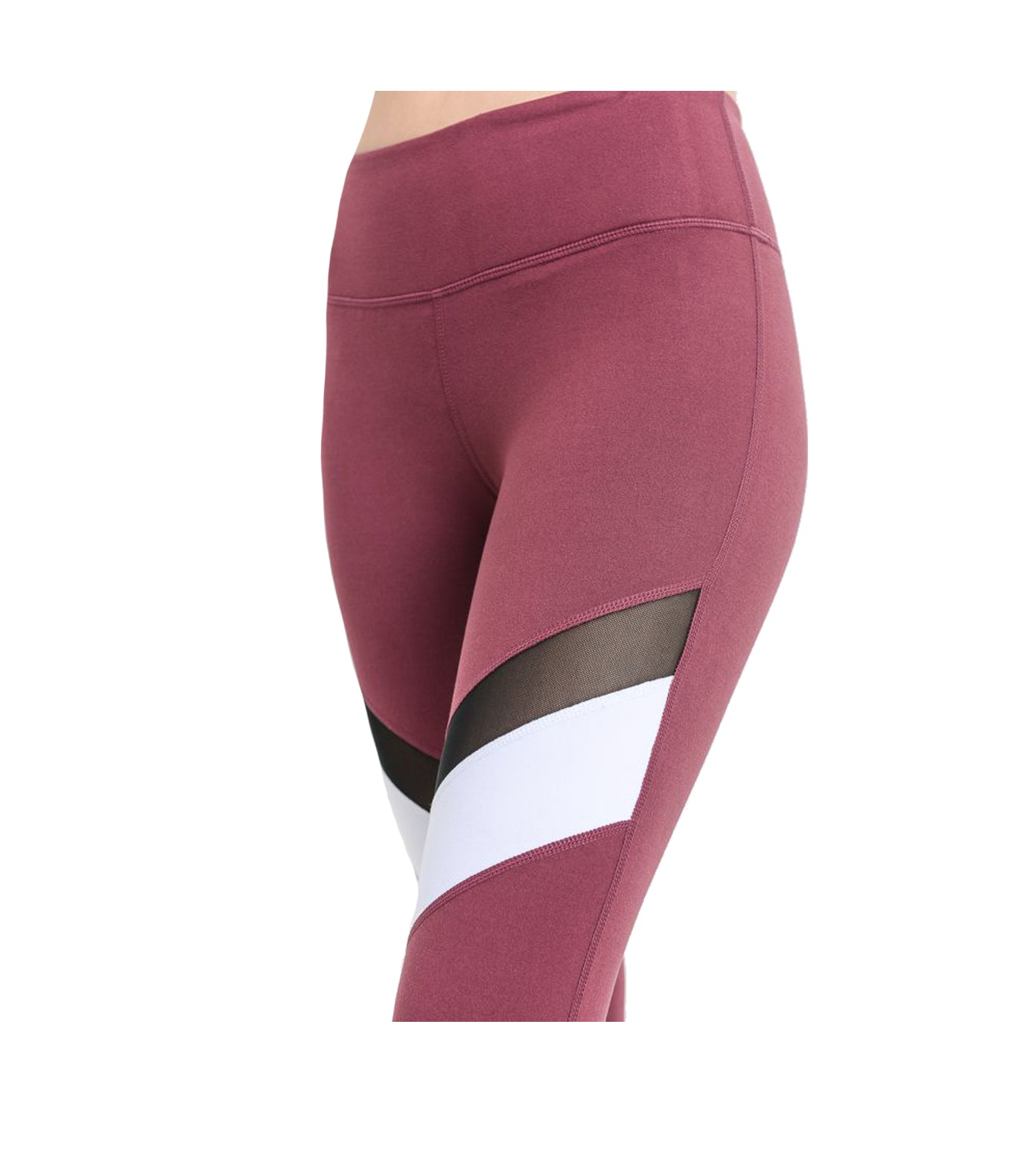Block Mesh Performance Leggings Deep Plum