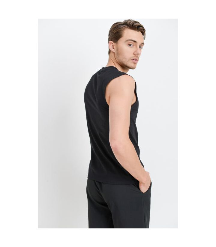 Cool Touch Cotton Blend Athletic Muscle Cut-Off Top Black