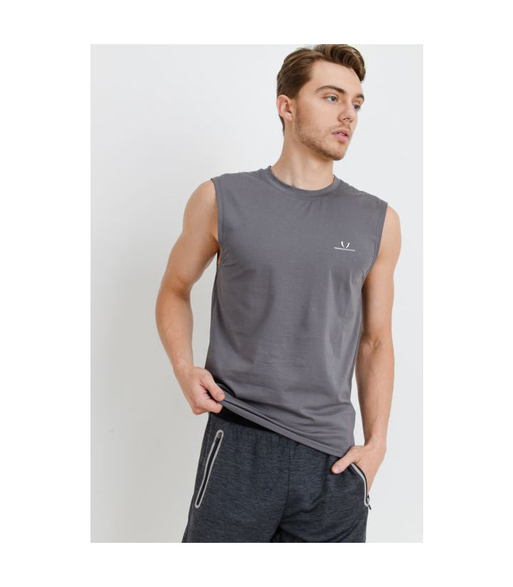 Cool Touch Cotton Blend Athletic Muscle Cut-Off Top Grey