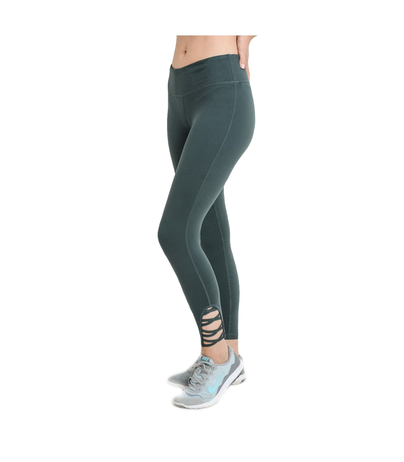 Criss Cross Performance Leggings Green