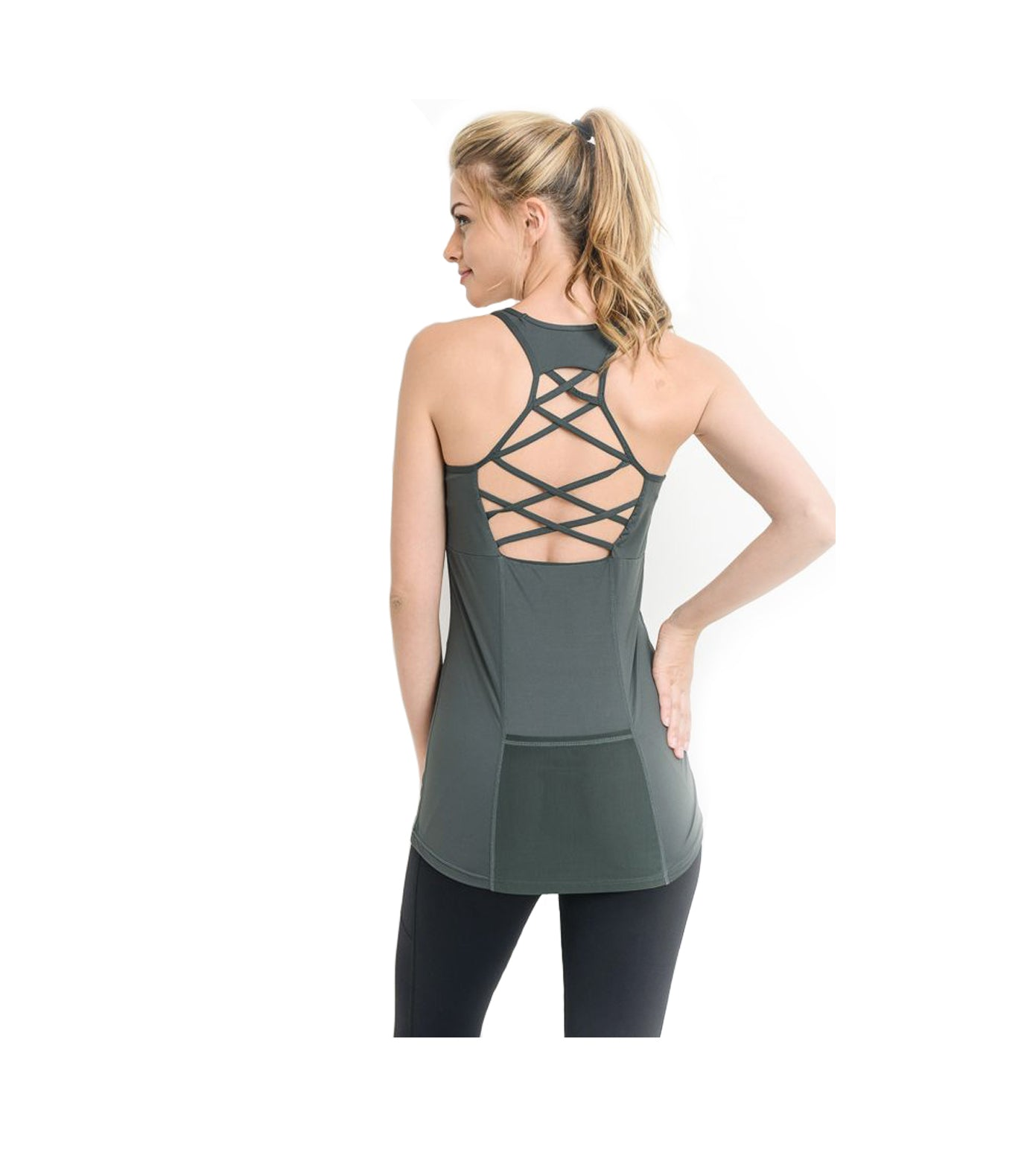 Criss Cross Athletic Tank Top Green