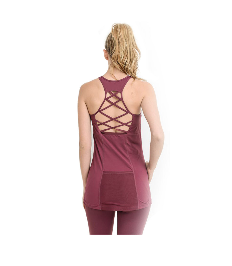 Criss Cross Athletic Tank Top Plum