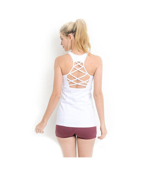 Criss Cross Athletic Tank Top White