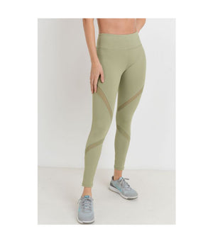 Mesh Performance Leggings Light Green
