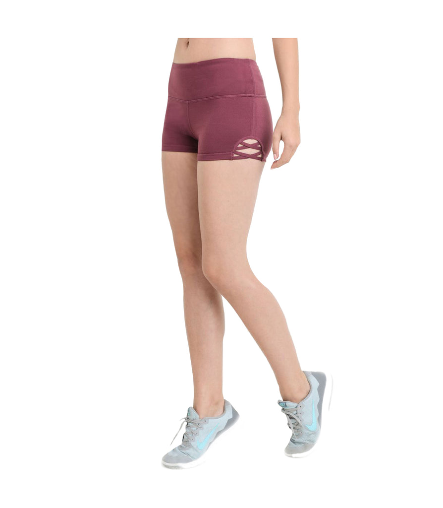 Criss Cross Performance Shorts Deep Plum