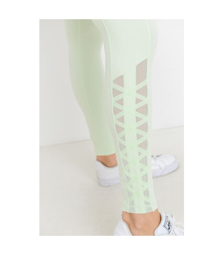 Mesh & Lattice Pocket Leggings Mint