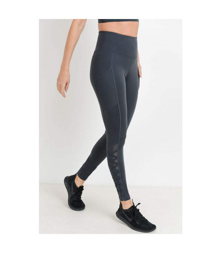 Mesh & Lattice Pocket Leggings Pine