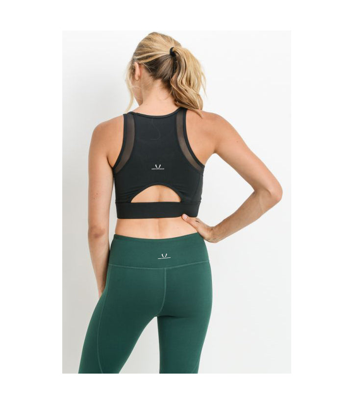 Mesh & Lattice Sports Bra Black