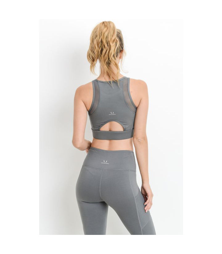 Mesh & Lattice Sports Bra Grey