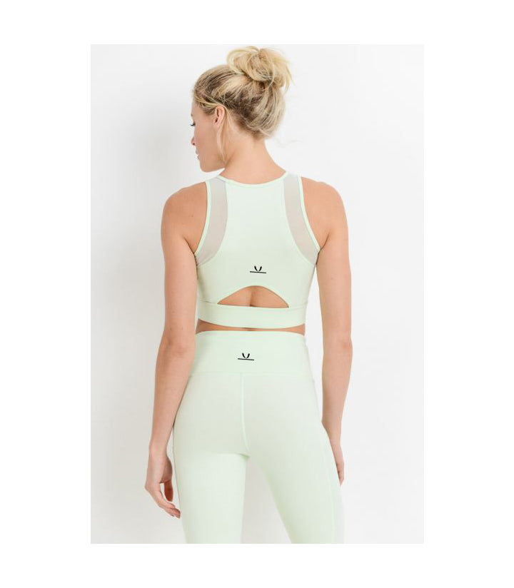 Mesh & Lattice Sports Bra Mint