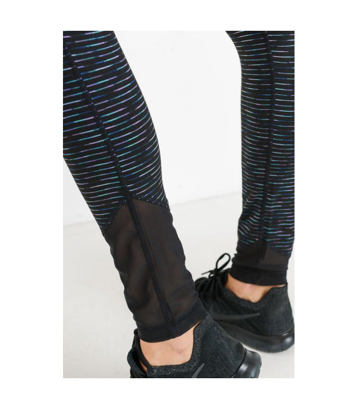 Highwaist Nebula Stripe Print Mesh Wrap Leggings