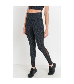 Highwaist Nebula Stripe Print Mesh Panel Leggings