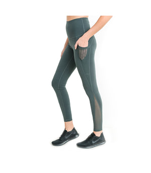 Mesh Pocket Performance Leggings Green