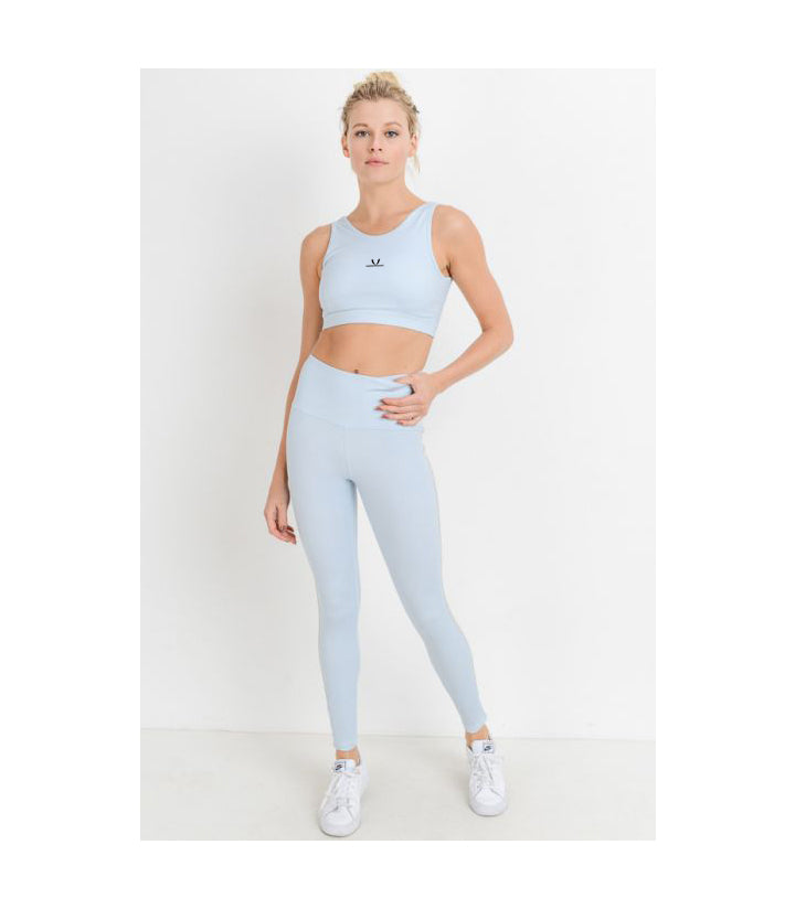 Pastel Stripe Double Straps Sports Bra