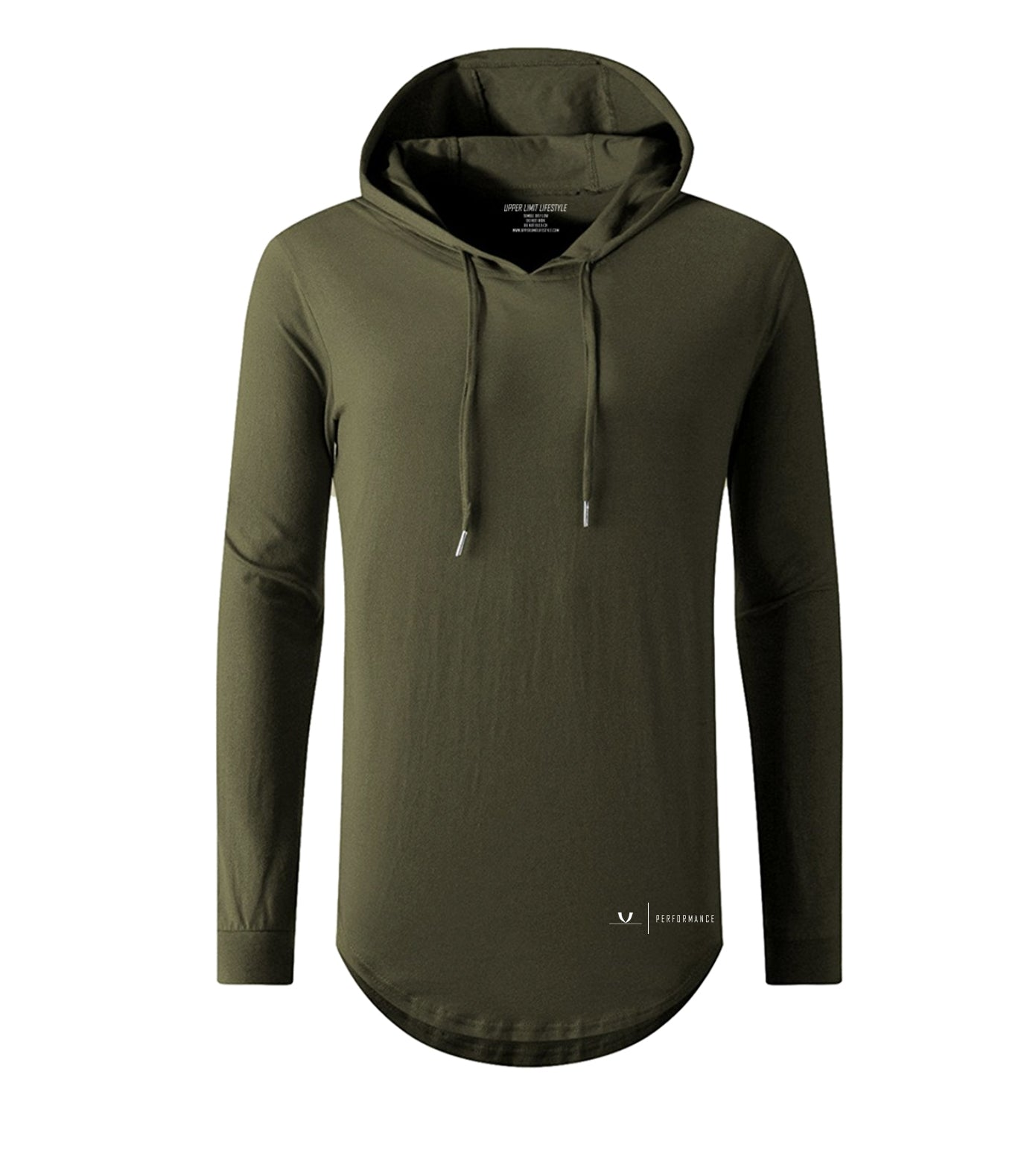 Performance Curved Hem Hoodie Long Sleeve Olive
