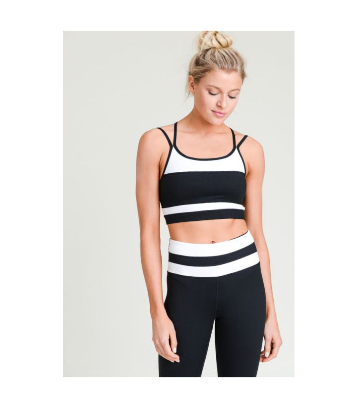 Black-White Overlay Back Sports Bra