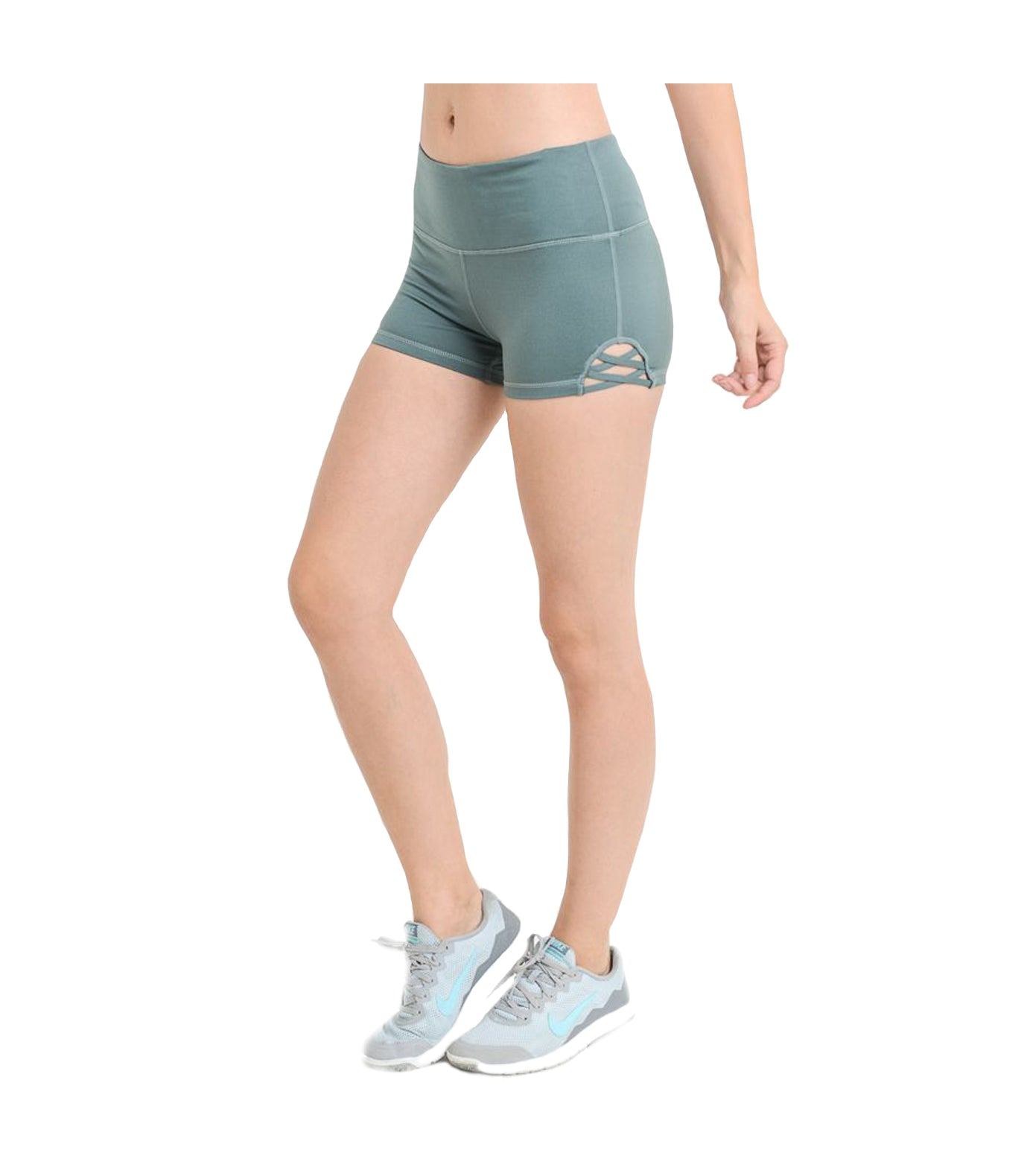 Criss Cross Performance Shorts Teal Blue