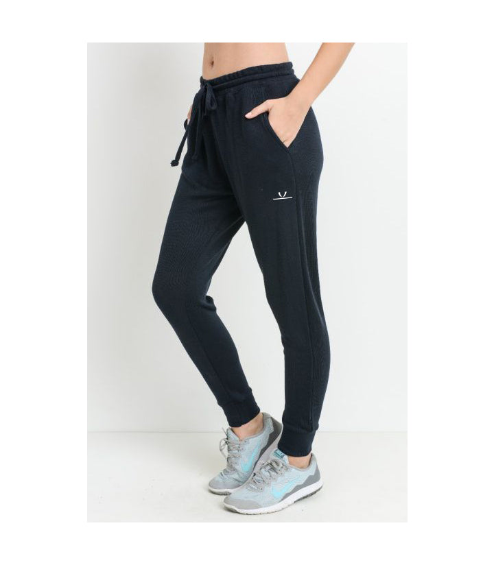Tapered Drawstring Modal Joggers Black