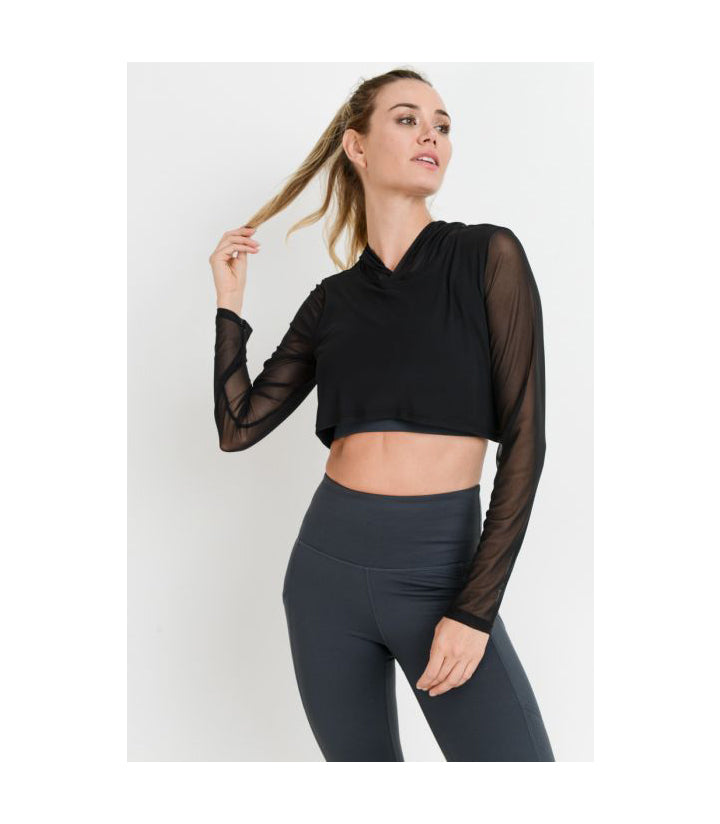 Mesh Sleeve Crop Top with Hoodie Black