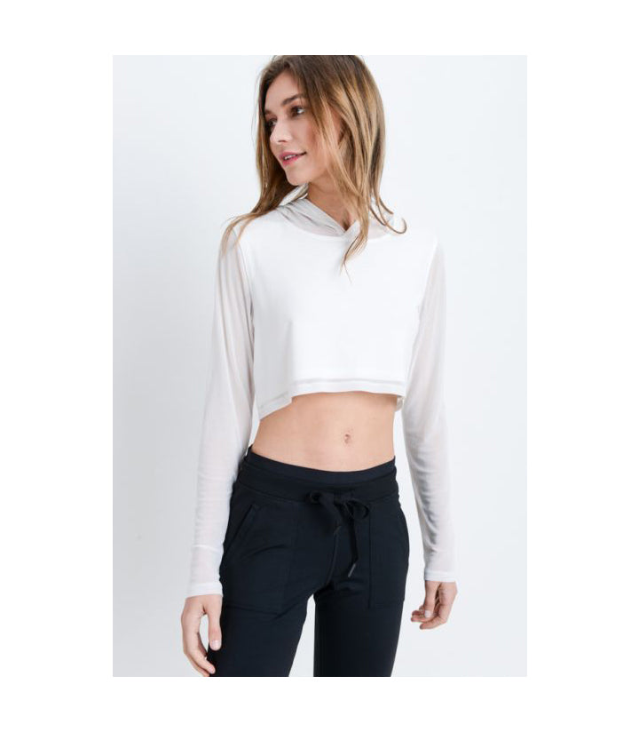 Mesh Sleeve Crop Top with Hoodie White