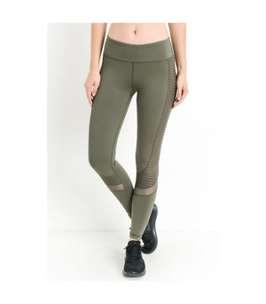 Moto Glide Mesh Leggings Dark Olive