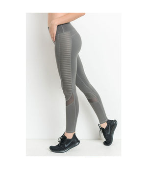Moto Glide Mesh Leggings Grey